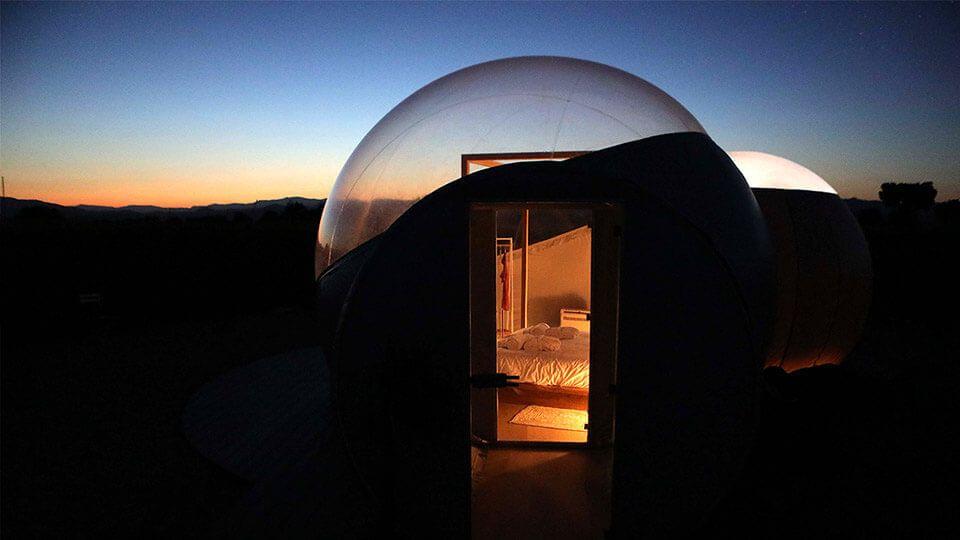 Bubble-Raum, wo Sie Astrotourismus oder Astronomischen Tourismus genießen können